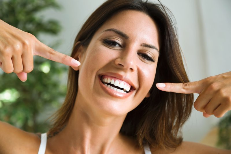 Woman after seeing cosmetic dentist