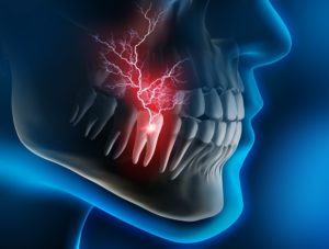 Digital image showing toothache at night